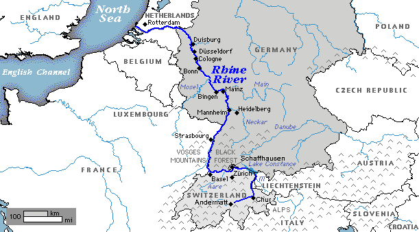 Rhine River map